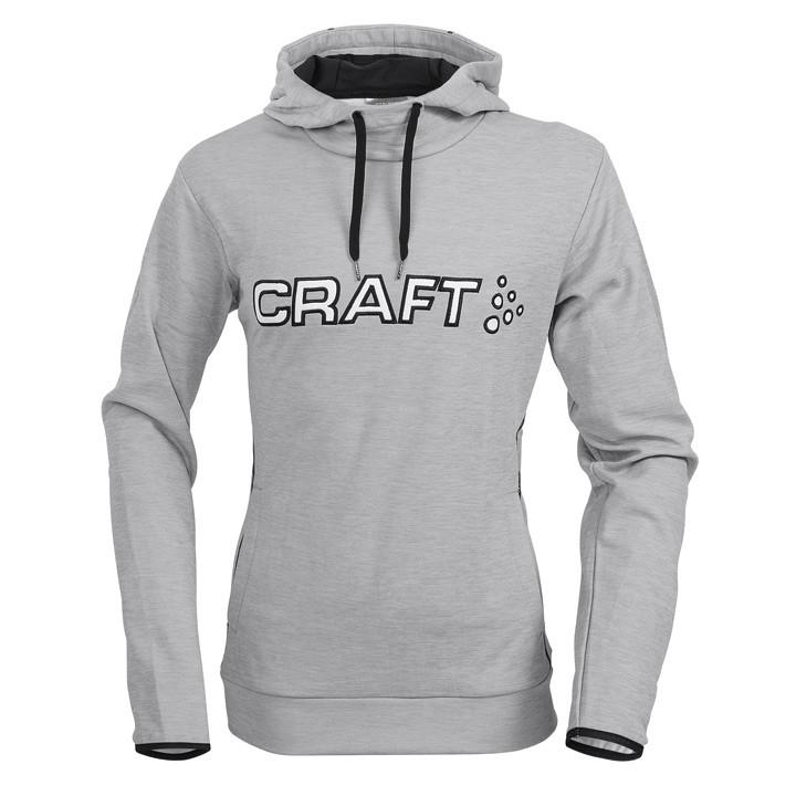 CRAFT Logo Hoody, grey mix-black hoody, voor heren, Maat XL, MTB shirt, MTB kled