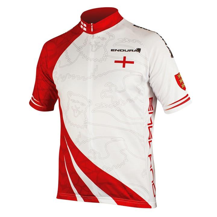 ENDURA Engeland, wit-rood fietsshirt met korte mouwen, voor heren, Maat S,