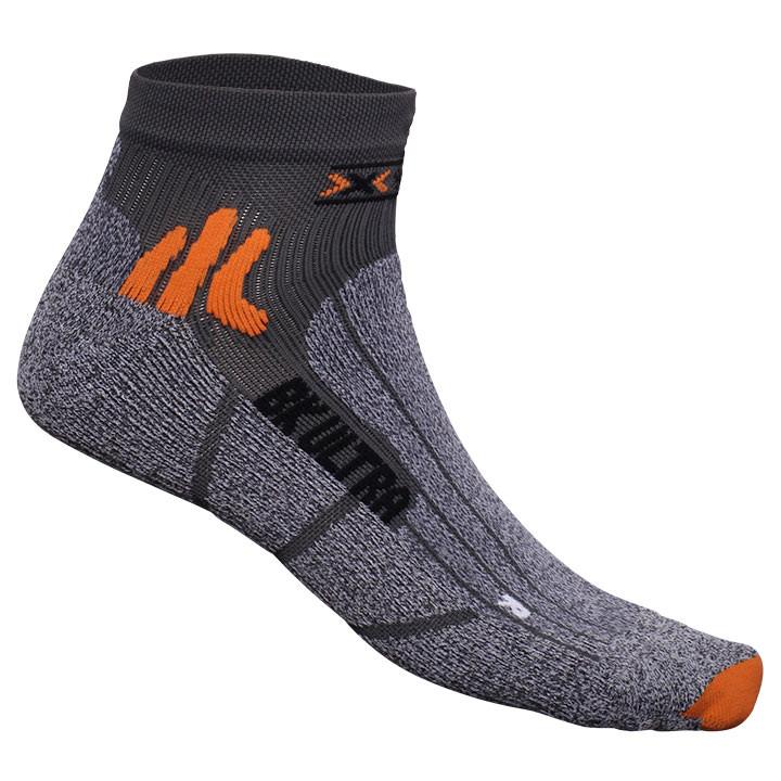 X-SOCKS Ultra Light grijs-oranje fietssokken, voor heren, Maat XS, Fiets kleding