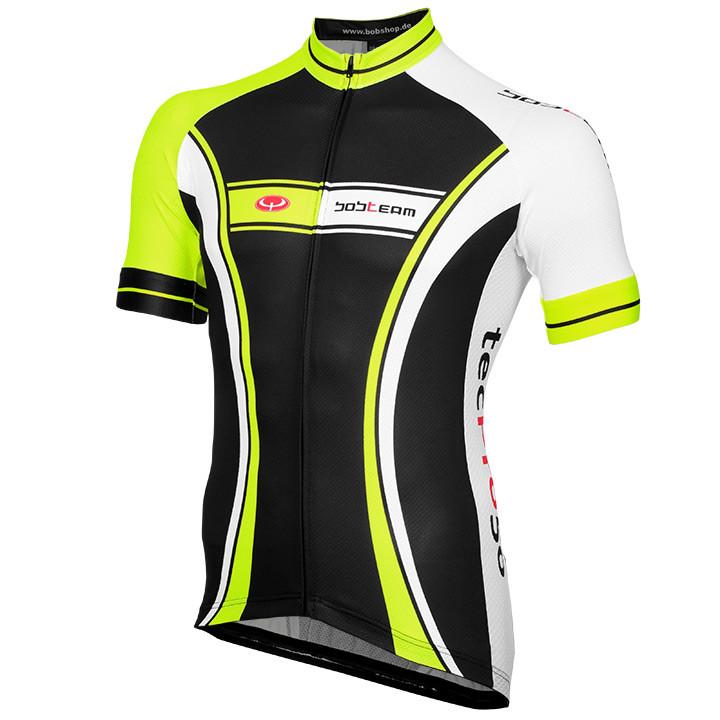 Wielrenshirt, BOBTEAM tecPro50 fietsshirt met korte mouwen, zwart-neon-wit fiets