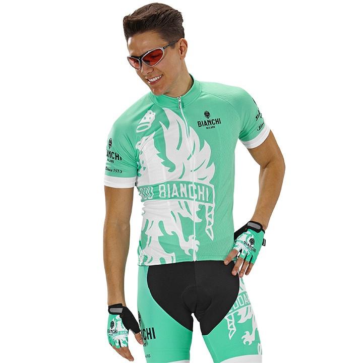 BIANCHI MILANO Cinca, celeste-wit fietsshirt met korte mouwen, voor heren, Maat