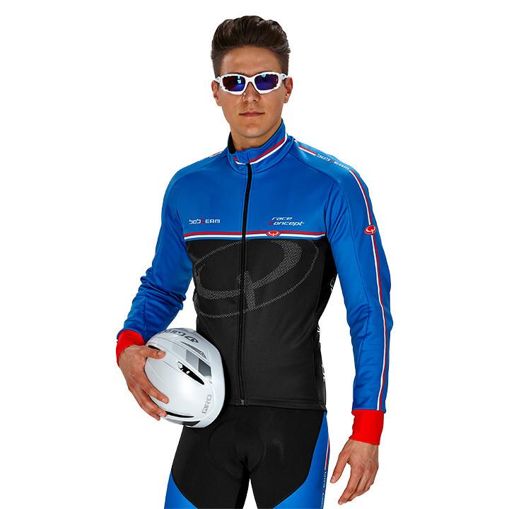 Fiets jas, BOBTEAM RACE CONCEPT winterjack zwart-blauw Thermojack, voor heren,