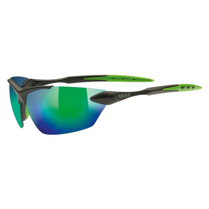 UVEX fietsbril sgl 203 mat zwart-groen mirror green sportbril, Unisex (dames /