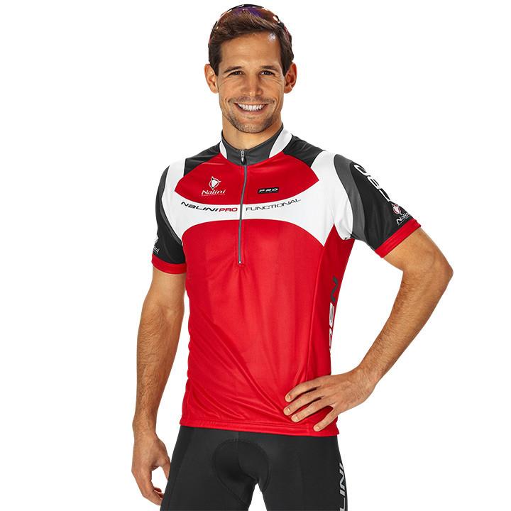 NALINI PRO Valico, rood-zwart-wit fietsshirt met korte mouwen, voor heren, Maat
