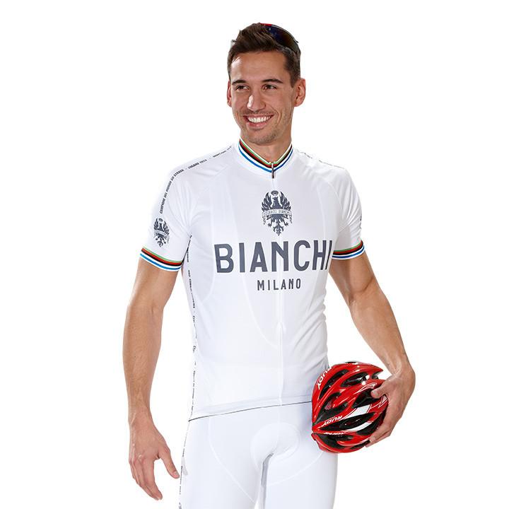 BIANCHI MILANO Pride, wit fietsshirt met korte mouwen, voor heren, Maat S,