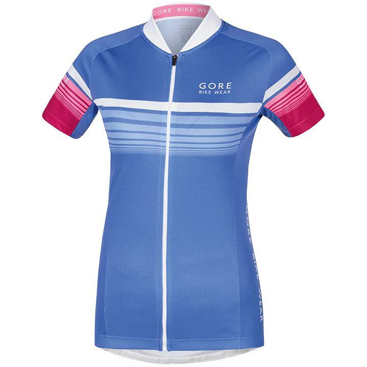 GORE damesshirt Element Speedy blauw-roze damesfietsshirt, Maat 38,