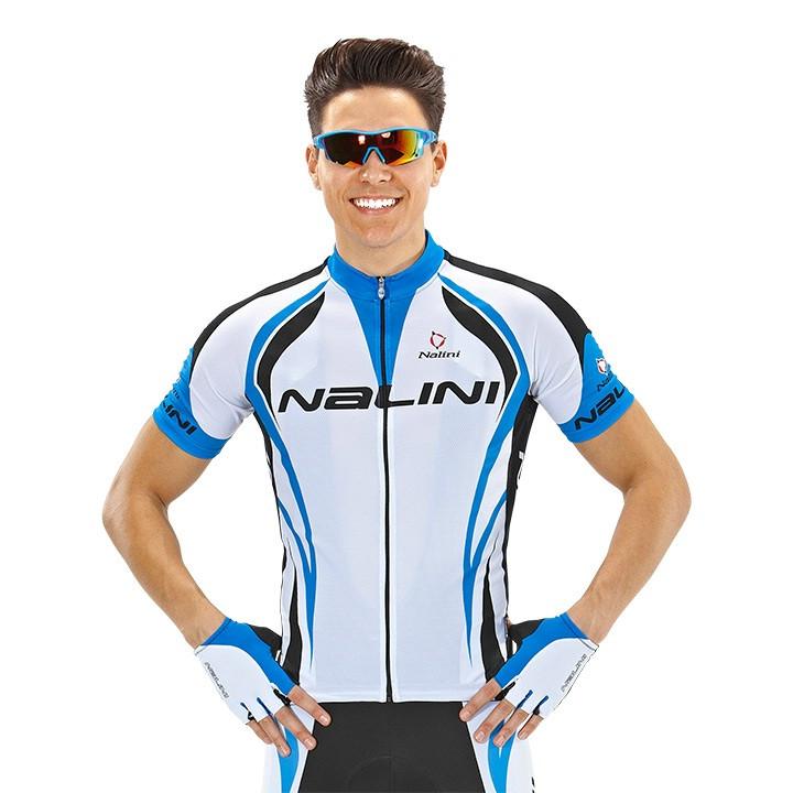 NALINI PRO Predazzo, wit-blauw-zwart fietsshirt met korte mouwen, voor heren,