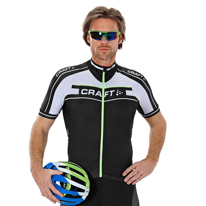 CRAFT Grand Tour, zwart-wit-groen fietsshirt met korte mouwen, voor heren, Maat