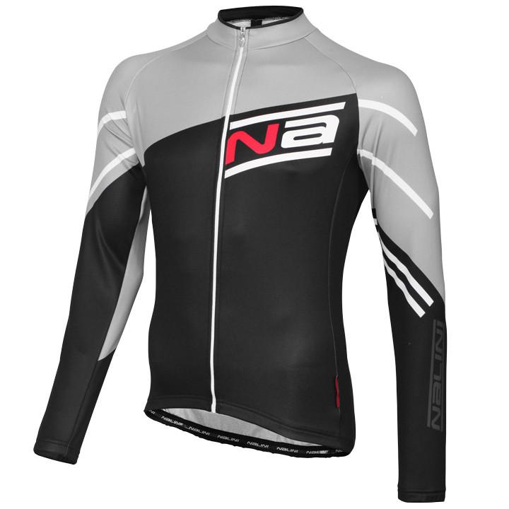 NALINI PRO shirt met lange mouwen Phalaris zwart-grijs fietsshirt met lange mouw