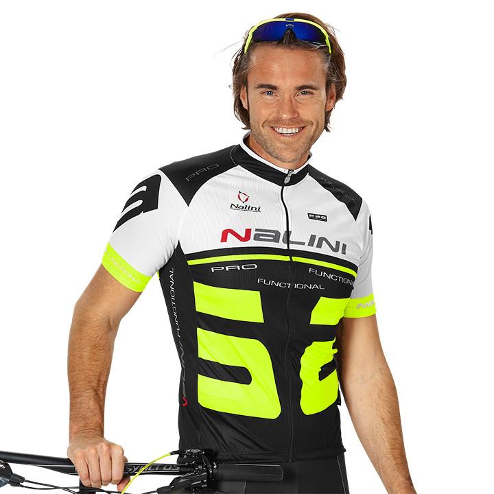 NALINI PRO Bao, zwart-wit-geel fietsshirt met korte mouwen, voor heren, Maat S,