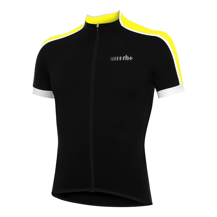rh+ shirt met korte mouwen Prime zwart-neon geel fietsshirt met korte mouwen, vo