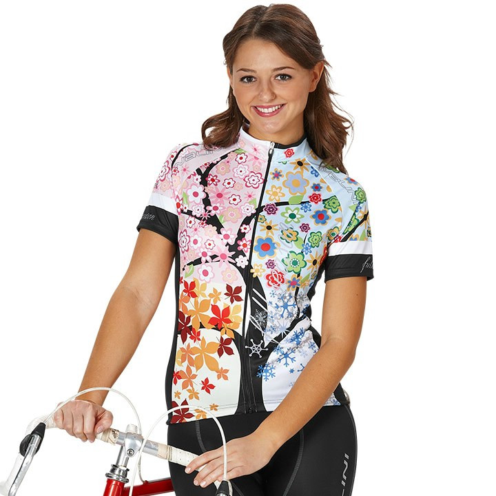 NALINI PRO damesshirt Caddiu, zwart-bont gekleurd damesfietsshirt, Maat XL,