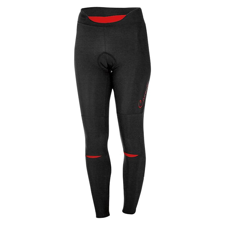 CASTELLI Lange dames fietsbroek Chic zwart-rood lange damesfietsbroek, Maat S, F