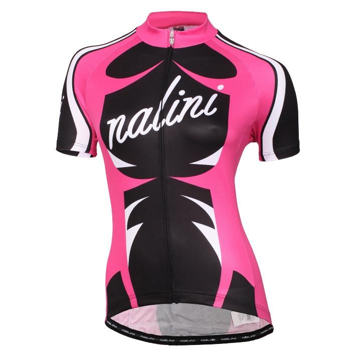 NALINI PRO dames shirt Verona roze-zwart damesfietsshirt, Maat L, Fietsshirt,