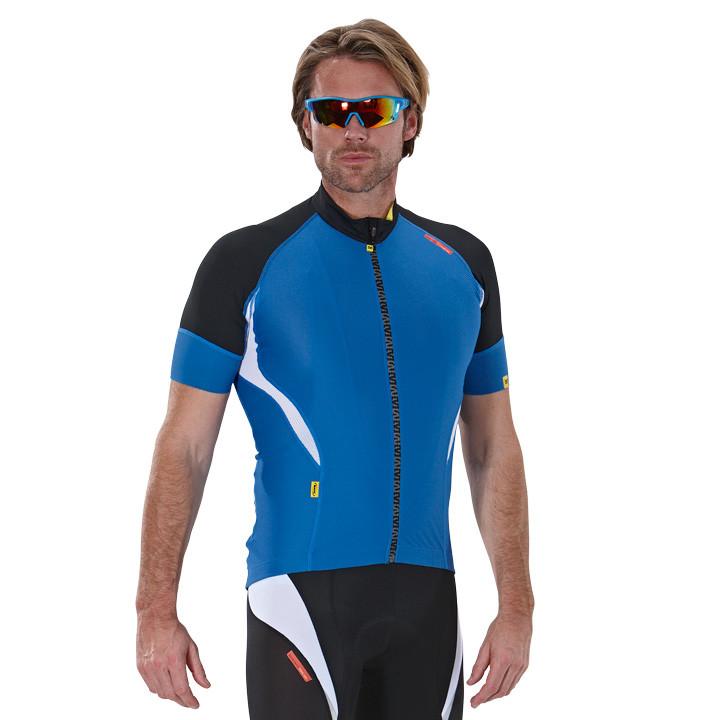 MAVIC HC, blauw-zwart fietsshirt met korte mouwen, voor heren, Maat M, Fietsshir
