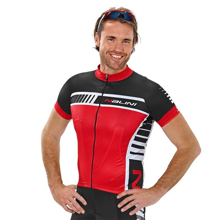 NALINI PRO Tescio, rood-zwart fietsshirt met korte mouwen, voor heren, Maat S,