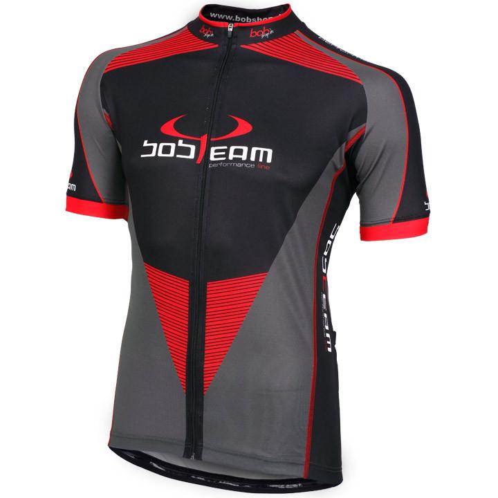 Wielrenshirt, BOBTEAM jersey met korte mouwen Performance Line II titaan fietssh