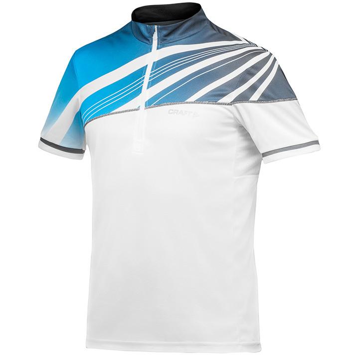 CRAFT MTB-shirt Performance Bike Loosefit, wit-blauw fietsshirt met korte mouwen