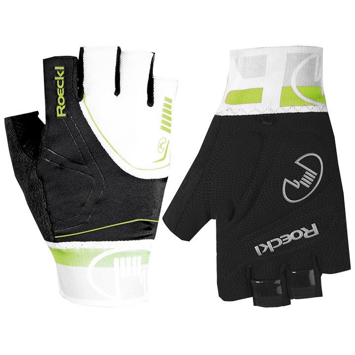 ROECKL Bergamo, zwart-wit-lime handschoenen, voor heren, Maat 10,5, Fietshandsch