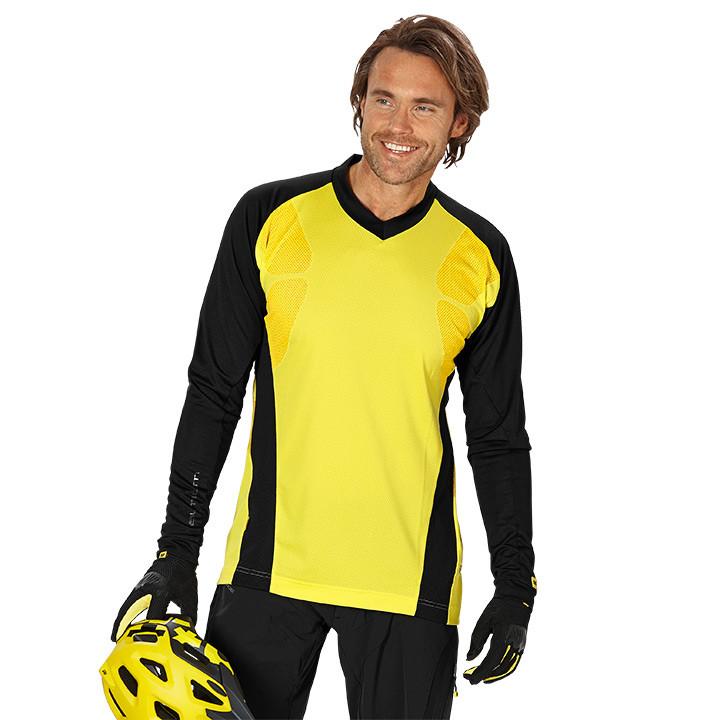 MAVIC MTB-Stratos, geel-zwart fietsshirt met lange mouwen, voor heren, Maat L, F