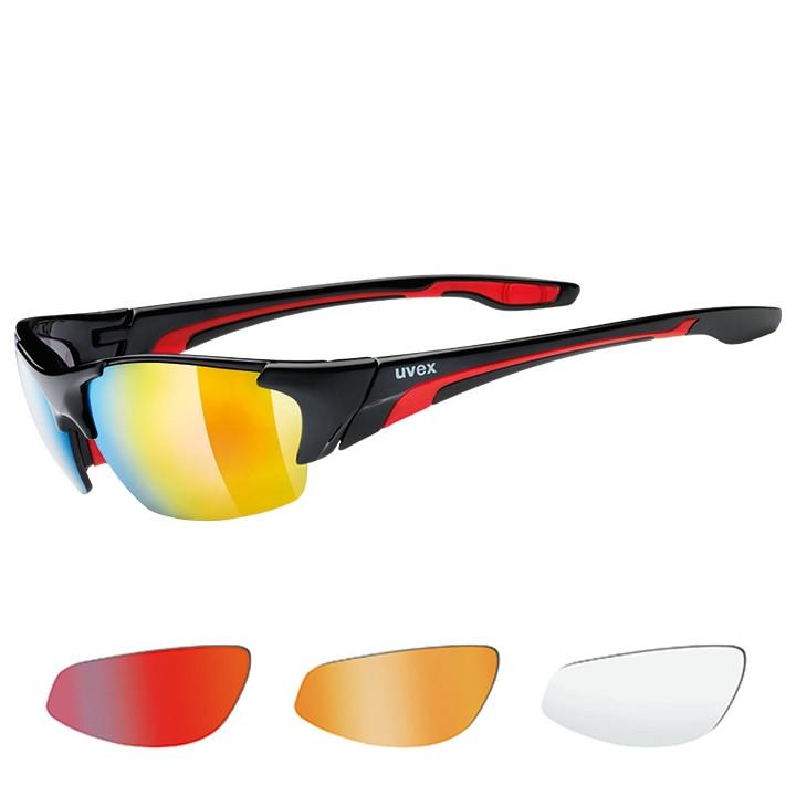 UVEX brillenset Blaze III 2019 zwart-rood bril, Unisex (dames / heren),