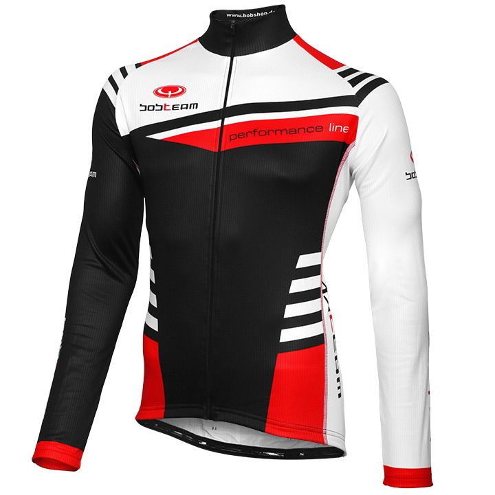 Wielershirt, BOBTEAM Performance Line III, zwart-wit-rood fietsshirt met lange m
