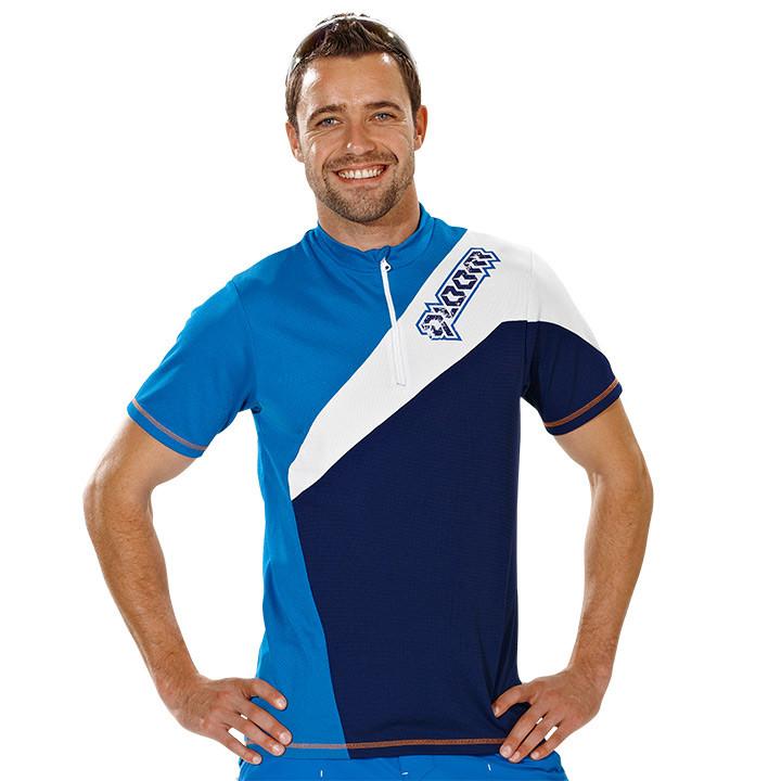 QLOOM freerideshirt Bramston, blauw-wit, voor heren, Maat S, Wielrenshirt, Fiets