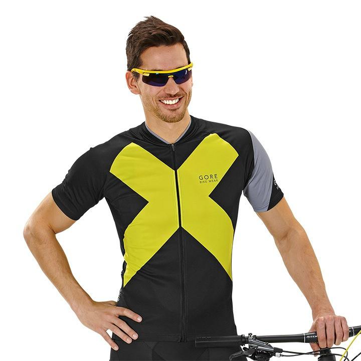 GORE Element X-Road, zwart-geel fietsshirt met korte mouwen, voor heren, Maat
