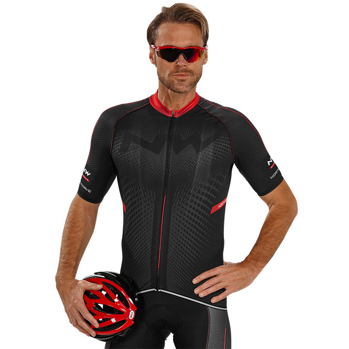 NORTHWAVE shirt met korte mouwen Extreme zwart-rood fietsshirt met korte mouwen,