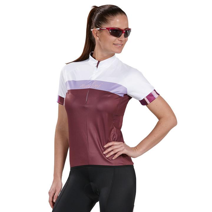 NALINI PRO dames shirt Luna Optical aubergine-paars-wit damesfietsshirt, Maat L,