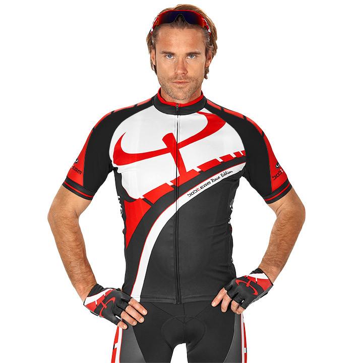Wielrenshirt, BOBTEAM RACE EDITION fietsshirt met korte mouwen, zwart-wit-rood f