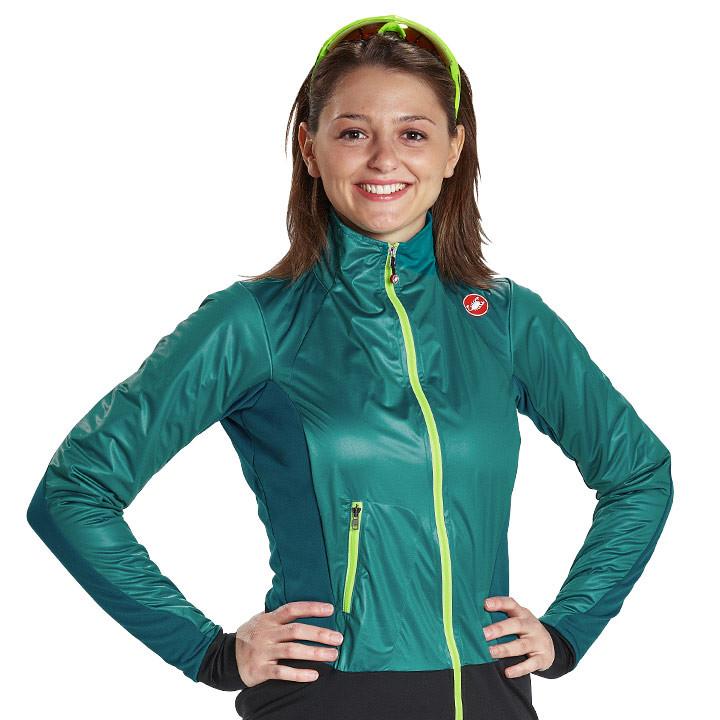 CASTELLI dames Cromo petrol-groen Light Jacket, Maat M, Fietsjas, Fietskleding