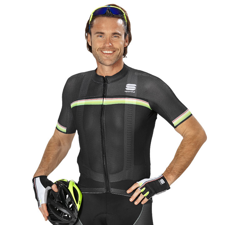 SPORTFUL Bodyfit Pro Aero, zwart-neongeel fietsshirt met korte mouwen, voor here