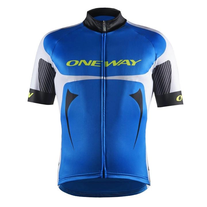 ONE WAY RD Team blauw-wit fietsshirt met korte mouwen, voor heren, Maat XL,