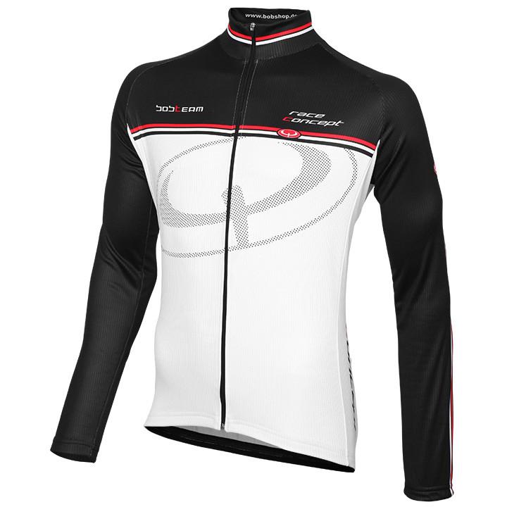 Wielrenshirt, BOBTEAM Race Concept, wit-zwart fietsshirt met lange mouwen, voor