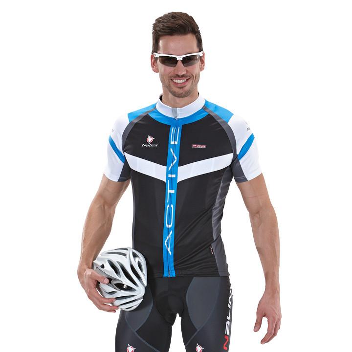 NALINI PRO Rigel, blauw-zwart fietsshirt met korte mouwen, voor heren, Maat L, F