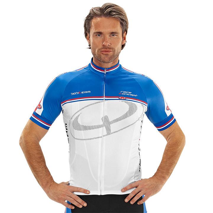 Wielrenshirt, BOBTEAM Race Concept, wit-blauw fietsshirt met korte mouwen, voor