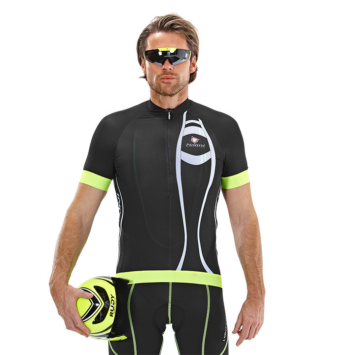 NALINI PRO Chiaro, zwart-neongeel fietsshirt met korte mouwen, voor heren, Maat