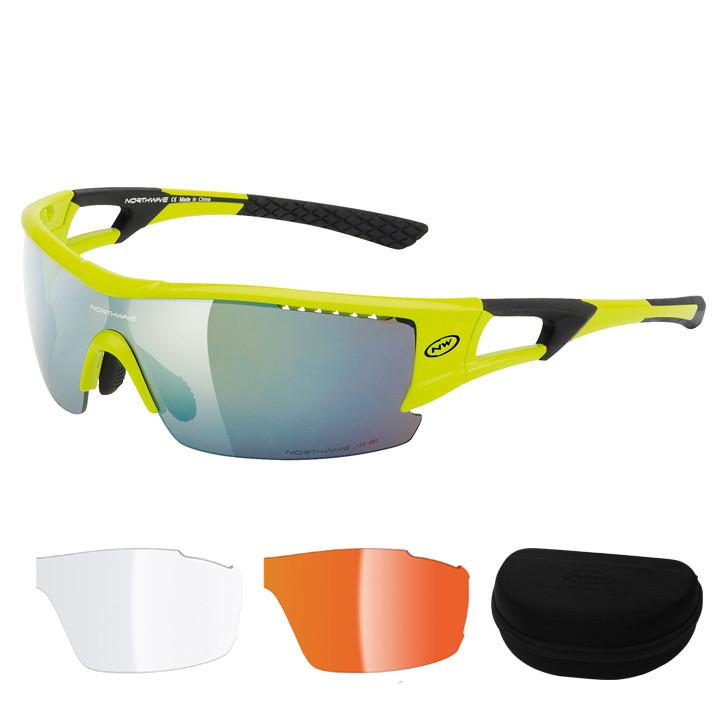 NORTHWAVE brillenset Tour Pro 2018, neon geel-zwart bril, Unisex (dames /