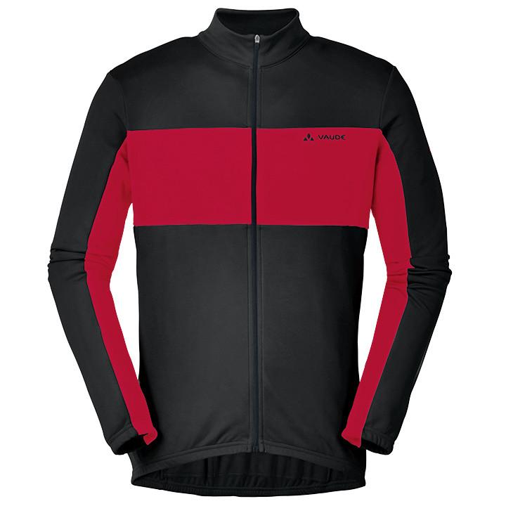 VAUDE shirt met lange mouwen Matera II zwart-rood fietsshirt met lange mouwen, v
