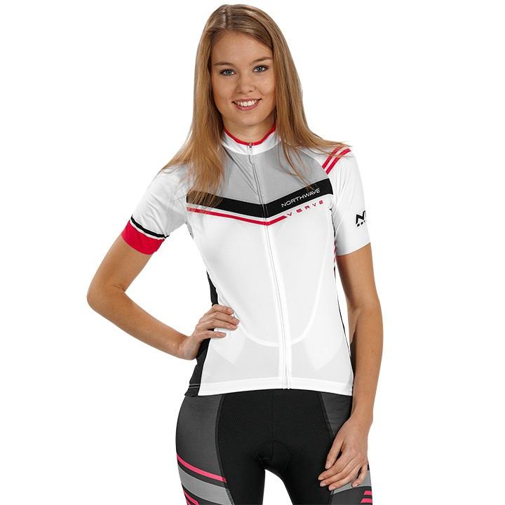 NORTHWAVE dames shirt Verve wit-zwart-roze damesfietsshirt, Maat L, Fietsshirt,