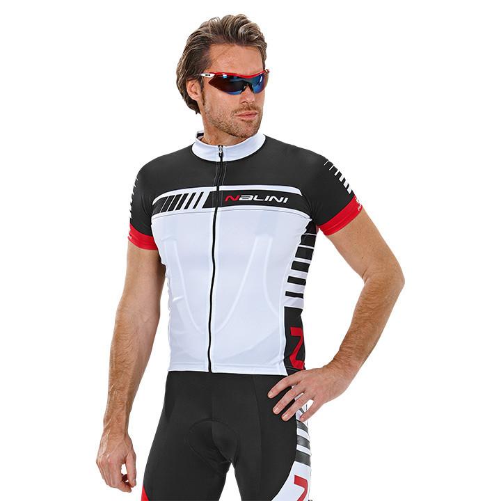 NALINI PRO Tescio, wit-zwart fietsshirt met korte mouwen, voor heren, Maat S, Wi
