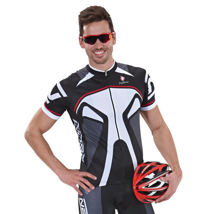 NALINI PRO Salorno, zwart-wit fietsshirt met korte mouwen, voor heren, Maat S, W