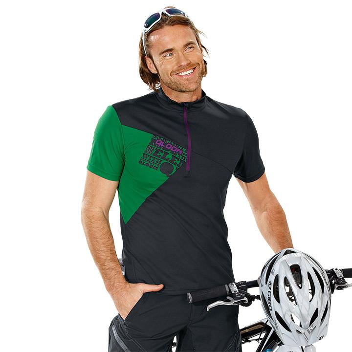QLOOM Creek, zwart-groen bikeshirt, voor heren, Maat S, Wielrenshirt, Fietskledi