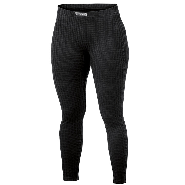 CRAFT lange dames fietsonderbroek zonder zeem Keep Warm Wool zwart, Maat S, Fiet