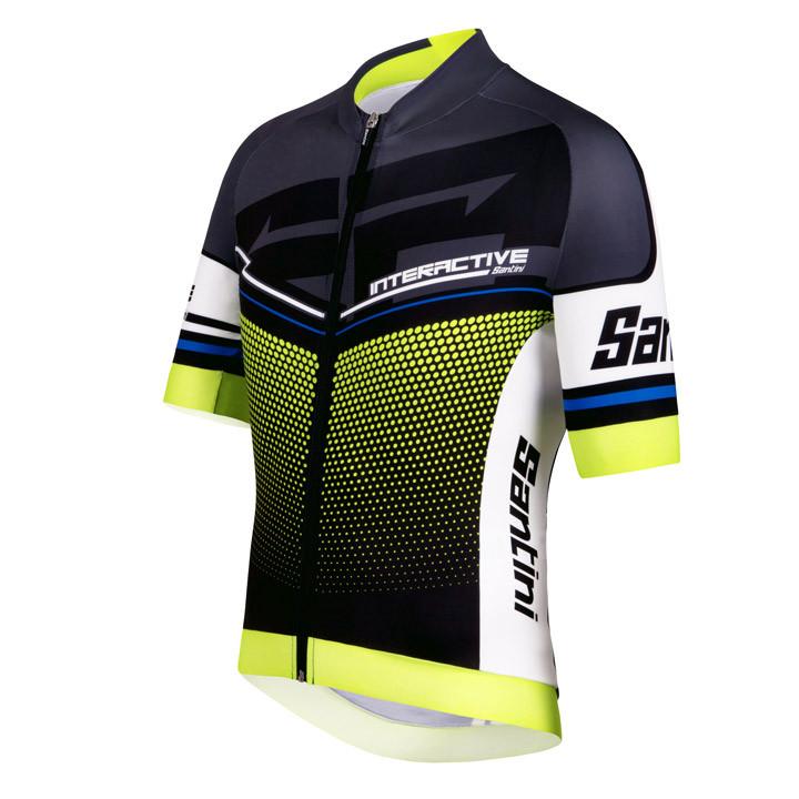 SANTINI shirt met korte mouwen Interactive 3.0 Aero antraciet-geel fietsshirt