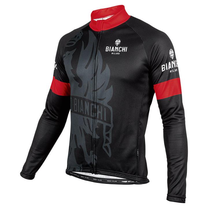 BIANCHI MILANO shirt met lange mouwen Sorisole zwart-rood fietsshirt met lange m