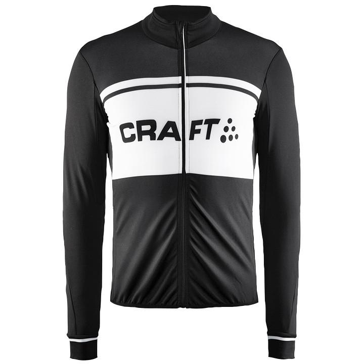 CRAFT shirt met lange mouwen Classic Thermal zwart-wit fietsshirt met lange mouw