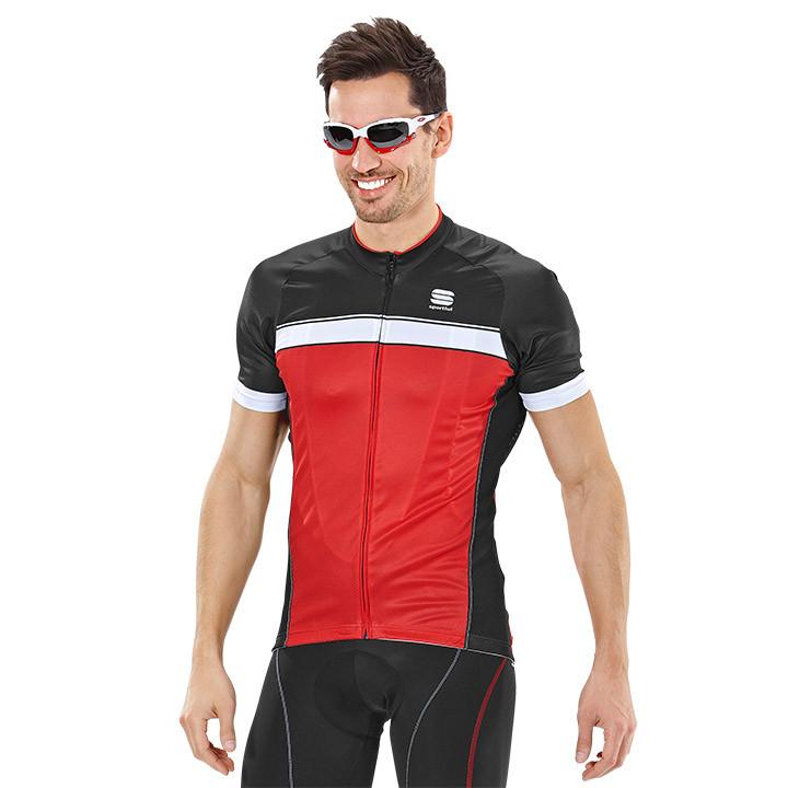 SPORTFUL Giro, rood-zwart-wit fietsshirt met korte mouwen, voor heren, Maat S, W