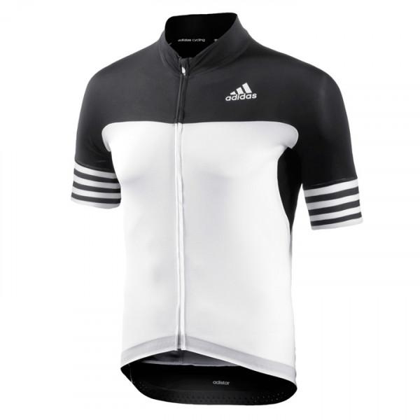 adidas Adistar S-S Jersey Fietsshirt maat XXL zwart-wit-grijs